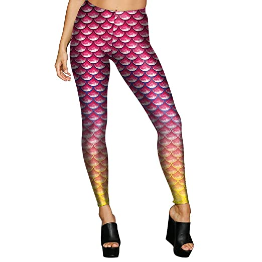 9153553c3579d3 Amazon.com: Kaicran Womens Digital Mermaid Scale Printed Fitness Power Flex  Yoga Pants Leggings S - XL: Clothing