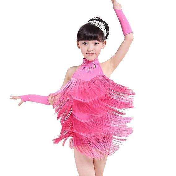 d1c3521209f Hougood Latin Dresses for Girls Kids Sleeveless Tassel Diamond Latin Dance  Dress Salsa Samba Rumba Tango Dance Costumes Dance Skirt  Amazon.co.uk   Sports   ...