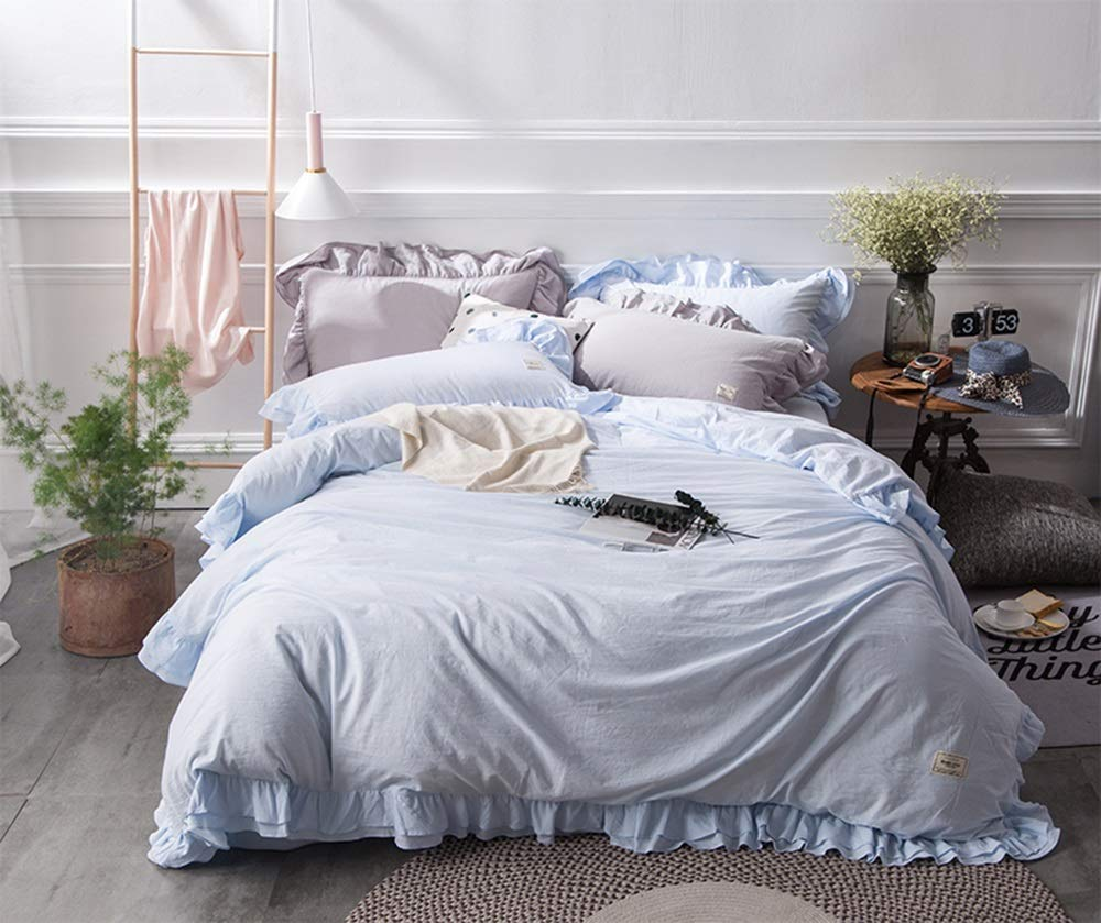 CSYP 洗った綿の4ピースの綿の女の子かわいいシンプルで純粋な色のレースの寝具パッケージ (Color : Ink blue) B07Q8KVNSV Sky blue  Sky blue