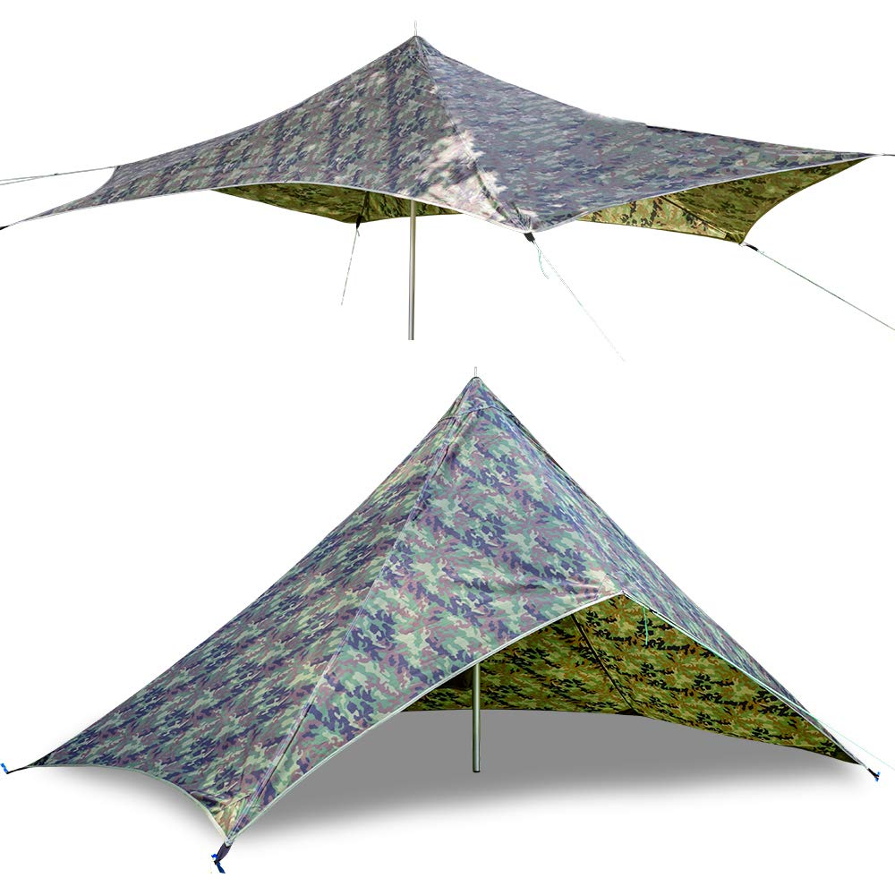 GEERTOP Large Camping Shelter Tarp Lighweight Backpacking Hunting Tarp 210T Ripstop Rain Fly Tent Tarp Beach Hammock Sun Shade Portable Outdoor Survival Gear Camping Accessories Hunting Shelters Camo by GEERTOP