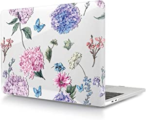 HRH for MacBook Air 13 inch Case(M1 A2337/A2179/A1932,2020-2018) 3D Print Design Laptop Body Shell PC Plastic Hard Case Cover for Mac Air 13.3 Retina Display Touch ID-Fashion Flower Clear Glossy