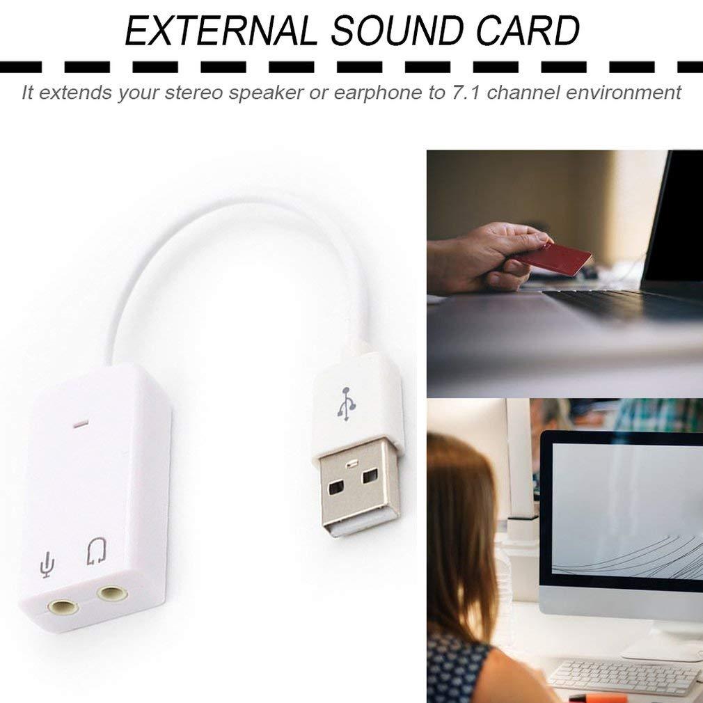 Leoboone External USB Sound Card 3D Virtual 7.1 Channel Audio Sound Card Adapter Plug /& Play For PC Desktop Laptop Notebook