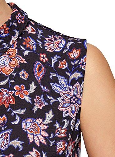 Ultra oodji Top Bleu Femme Tissu 7945f en Fluide Basique rrOdAqw