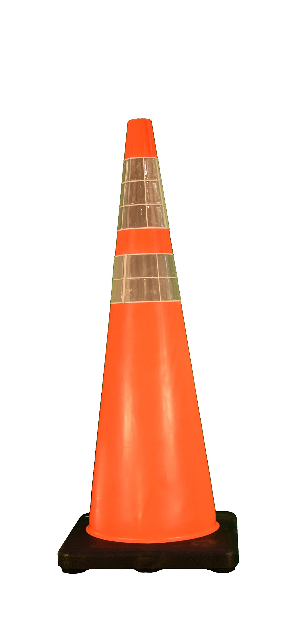 Cortina Traffic Cone, Vinyl with Black Base and 6''/4'' Reflective Collar 03-500-06, 36'' Height, Red/Orange