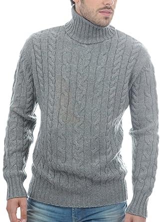 Balldiri 100% Cashmere Kaschmir Herren Rollkragen Zopf Pullover 10 fädig  grau M 99c1f42249
