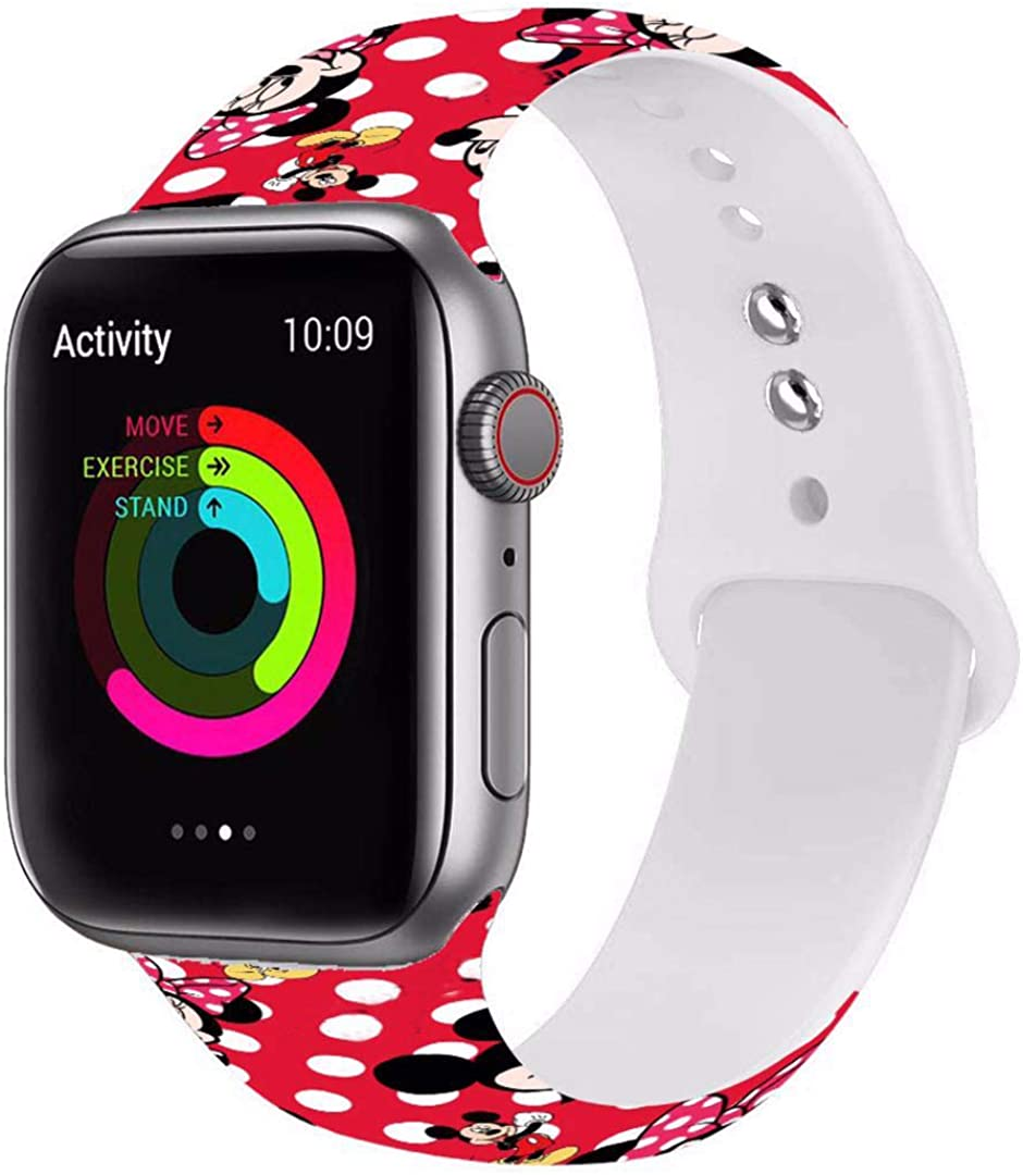 Sport Watch Band Compatible for Apple Watch Bands 38mm 40mm 42mm 44mm Fashion Cute Fadeless Pattern Mic_key Printed Women's Dis_ney Replacement Strap Band for iwatch SE/Series 6/5/4/3/2