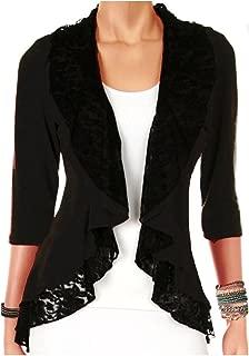 product image for Funfash Plus Size Women Black Lace Cardigan Sweater Jacket Shrug Top Long Sleeve