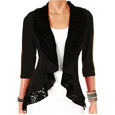 Funfash Plus Size Women Black Lace Cardigan Sweater Jacket Shrug ...