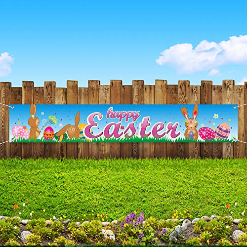 Easter Decorations, Easter Party Suppliers Easter Banner Garland 70.8 x 11.8 inch Fabric Indoor and Outdoor Easter Decor Bunny and Egg Banner -