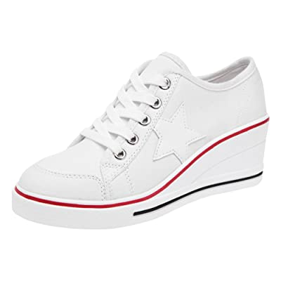 Padgene Women's Canvas High-Heeled Shoes Lace Up Fashion Sneakers Platform Wedges Pump Shoes   Fashion Sneakers
