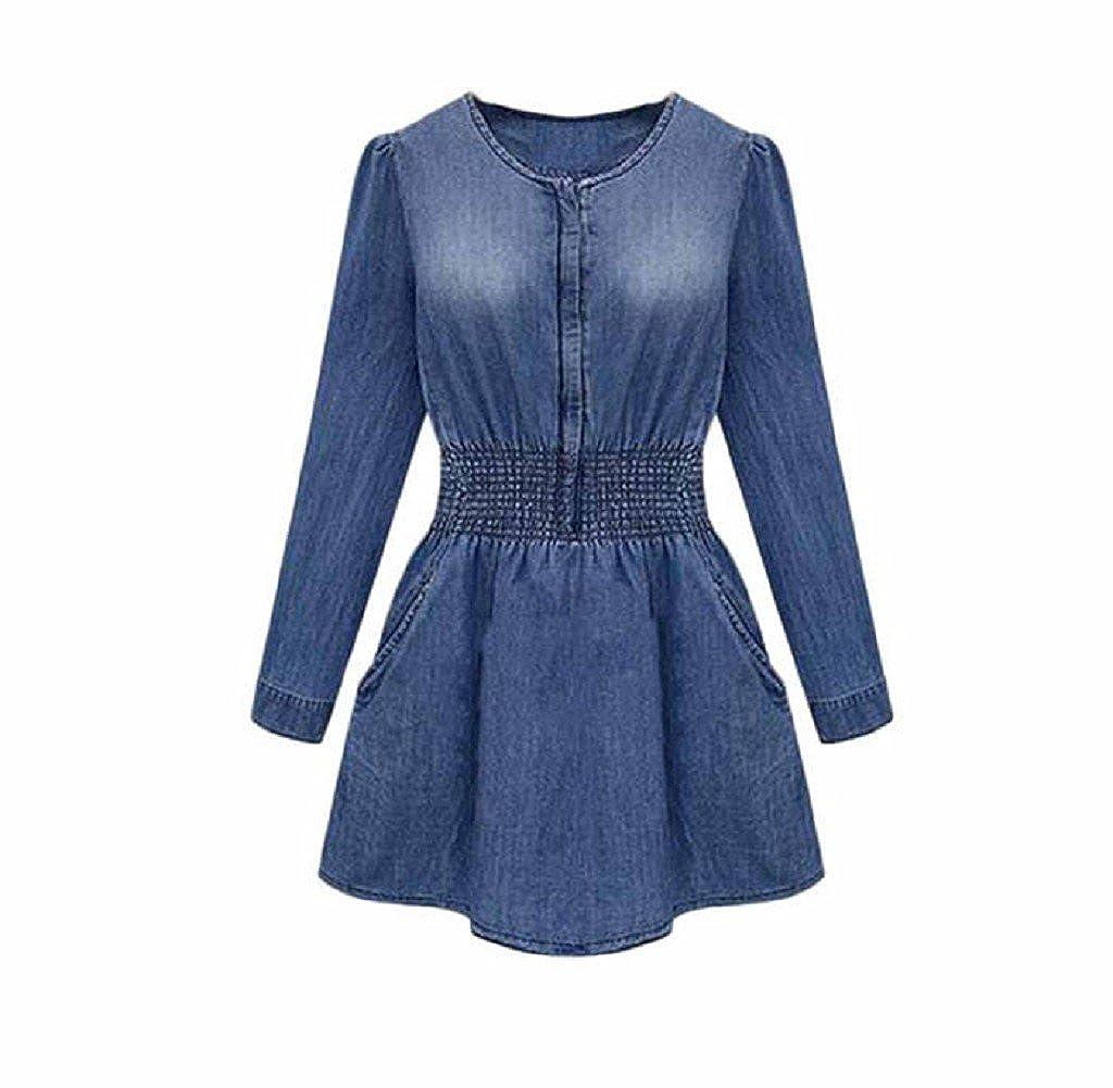 Tongshi Mini Vestido de Fiesta de Primavera Vintage Manga Larga Denim Casual Slim Jeans Mujer (XXL, Azul): Amazon.es: Ropa y accesorios