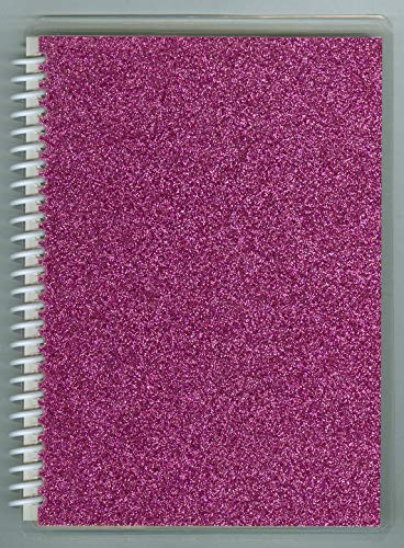 Sticker Collecting Album 5x7 Raspberry Sparkle Glitter, Re-usable Pages Won't harm Stickers.