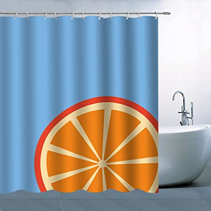Image Unavailable Not Available For Color AMFD Orange Shower Curtain Simple Fruit Concise Blue