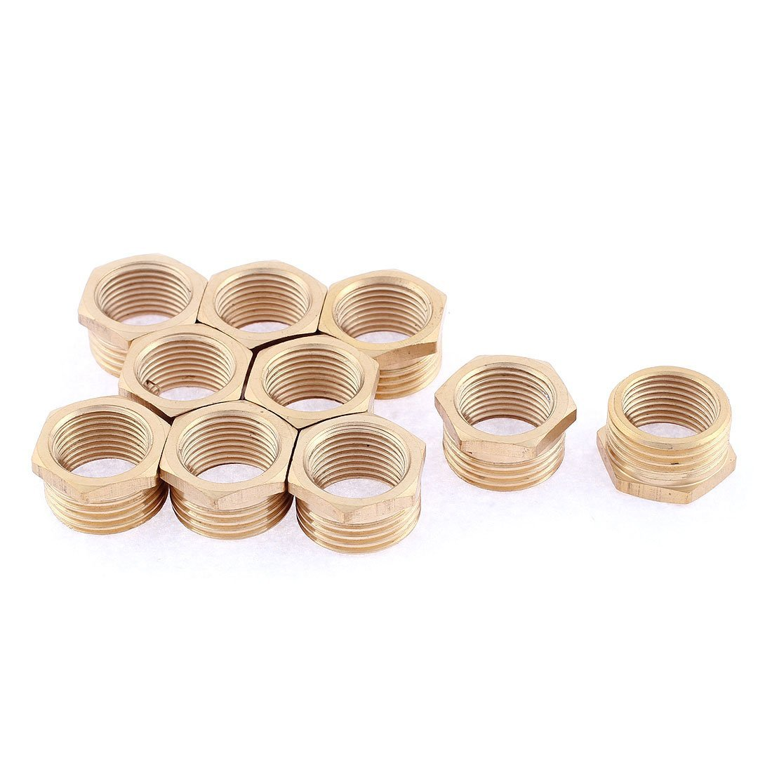 1//2BSP Female to 1//2BSP Male Hex Thread Bushing Piping Adapter Pipe Fitting 2pcs