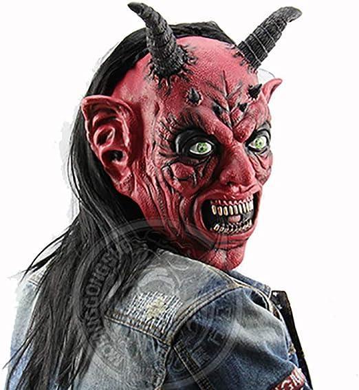 Mascara de Demonio Halloween de Terror de 100/% Látex Natural Para Hombres