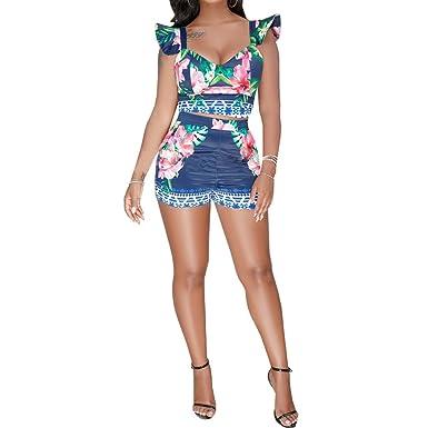 9eed36c949 Women s Summer 2 Piece Outfits Sleeveless Ruffle Floral Print Crop Top  Skinny Shorts Set Dark Blue