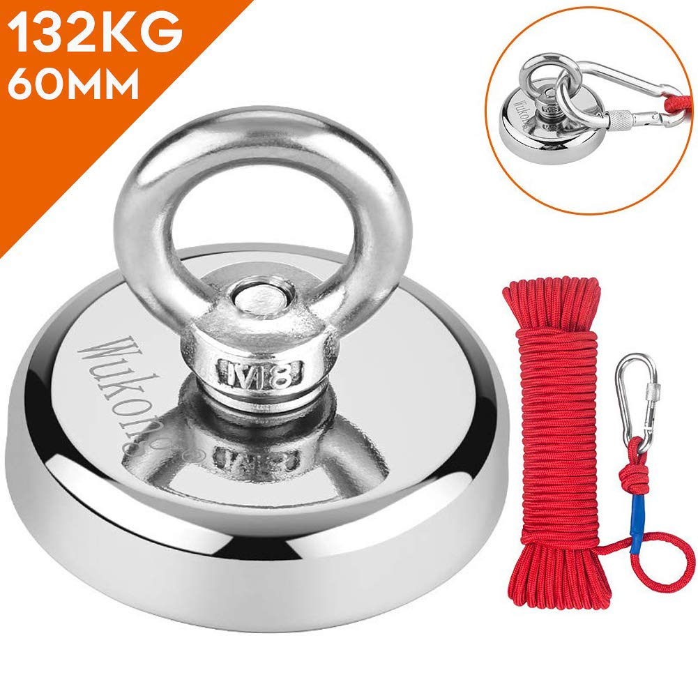 Perfect for Magnet Fishing and Salvage in River Anpro Round Neodymium Eyebolt Fishing Magnet with 66ft Red Rope Super Power N52 Pulling Force 330LB 150KG