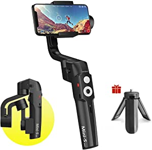 MOZA Mini-S Foldable 3-Axis Gimbal Stabilizer Smartphone Gimbal Compatible with iPhone 11 Xs Max Xr X 8 with Quick Play back,One-Button Zoom, Time-lapse, Object Tracking, Inception Mode Function