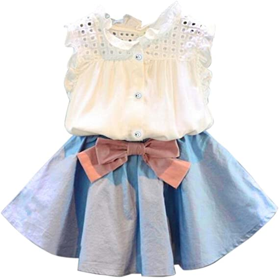 Falda niña Bebé niñas Chaleco Camiseta Tops + Falda Corta Bowknot ...
