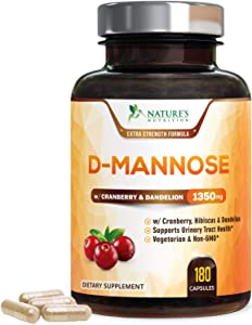 D-Mannose Capsules with Cranberry Extra Strength Support 1350mg - Natural Urinary Health Support - Made in USA - Vegan Fast-Acting Pills w/Dandelion & Hibiscus for Men & Women - 180 Capsules
