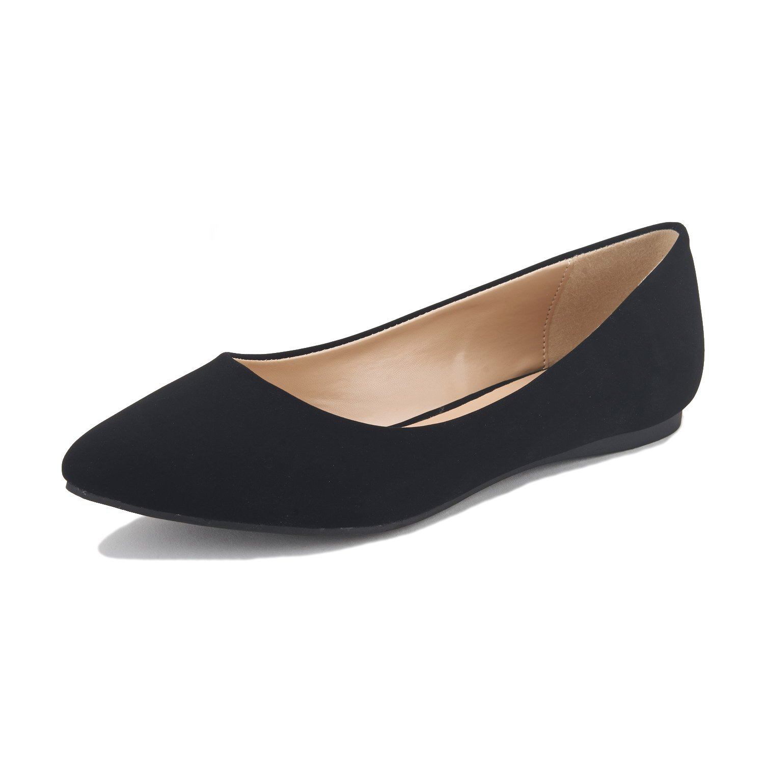 DREAM PAIRS Sole Classic Women's Casual Pointed Toe Ballet Comfort Soft Slip On Flats Shoes Black Nubuck Size 11