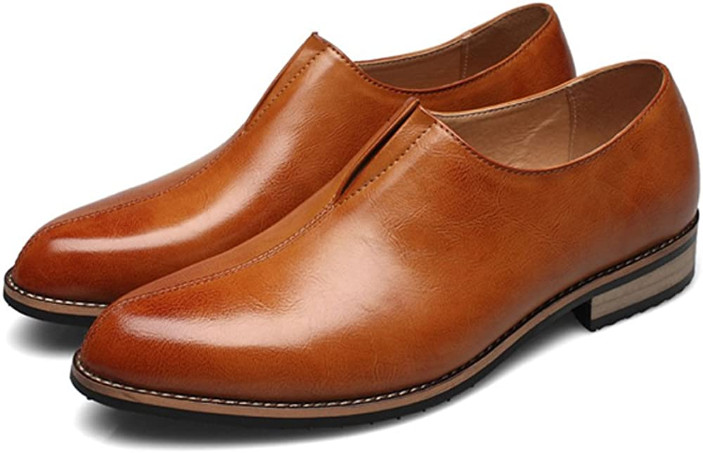 Elegdy Mens Ankle Shoes Smooth PU Leather Upper Slip-on Breathable Formal Business Shoes