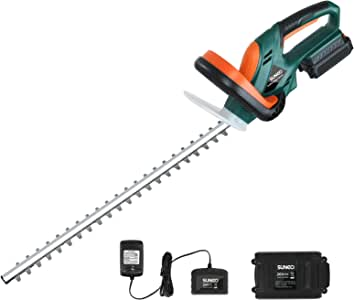 SUNCOO 20V Cordless Hedge Trimmer, 22-Inch Battery Powered Trimming Kit, Electric Trimmers w/Battery and Charger Included