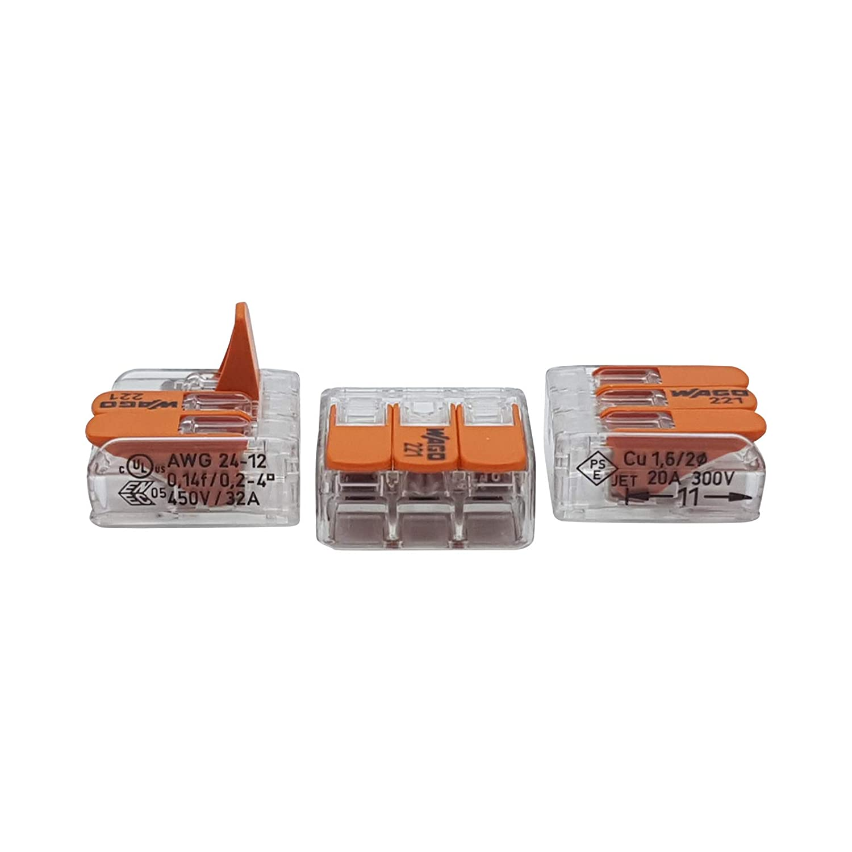 transparente 100 unidades Wago 221-413 terminal de conexi/ón 3 hilos con palanca 0,2-4 qmm dise/ño peque/ño
