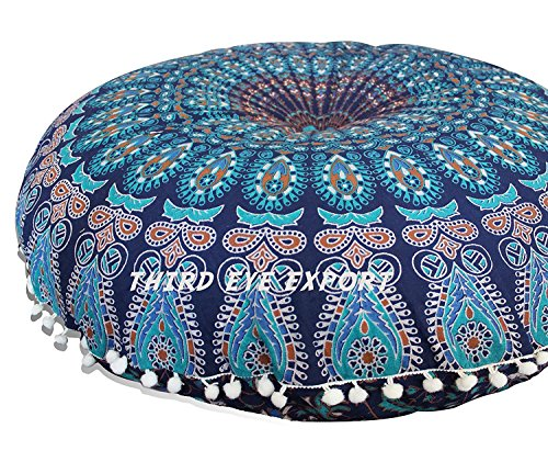 (Third Eye Export - 32 in Mandala Barmeri Large Round Floor Pillow Cover Cushion Meditation Seating Ottoman Throw Cover Hippie Decorative Zipped Bohemian Pouf (Blue Cover Only, 32 Inches))