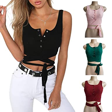 2fe856f8ef408 Pcongreat 2019 Women Solid Color Long Sleeve Summer Backless Bandage Crop  Top Blouse Army Green