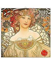 Alfons Mucha väggkalender 2022, kalender broschyr kalender med månadskalendarium, broschyr kalender konstkalender 30 x 30 cm (30 x 60 öppna)