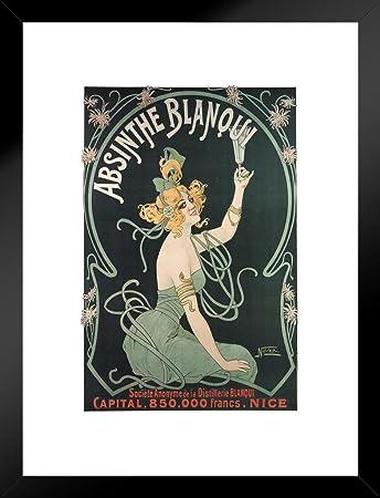 Poster Foundry Absinthe Blanqui Art Nouveau Liquor Advertisement Art Print Matted Framed Wall Art 20×26 inch
