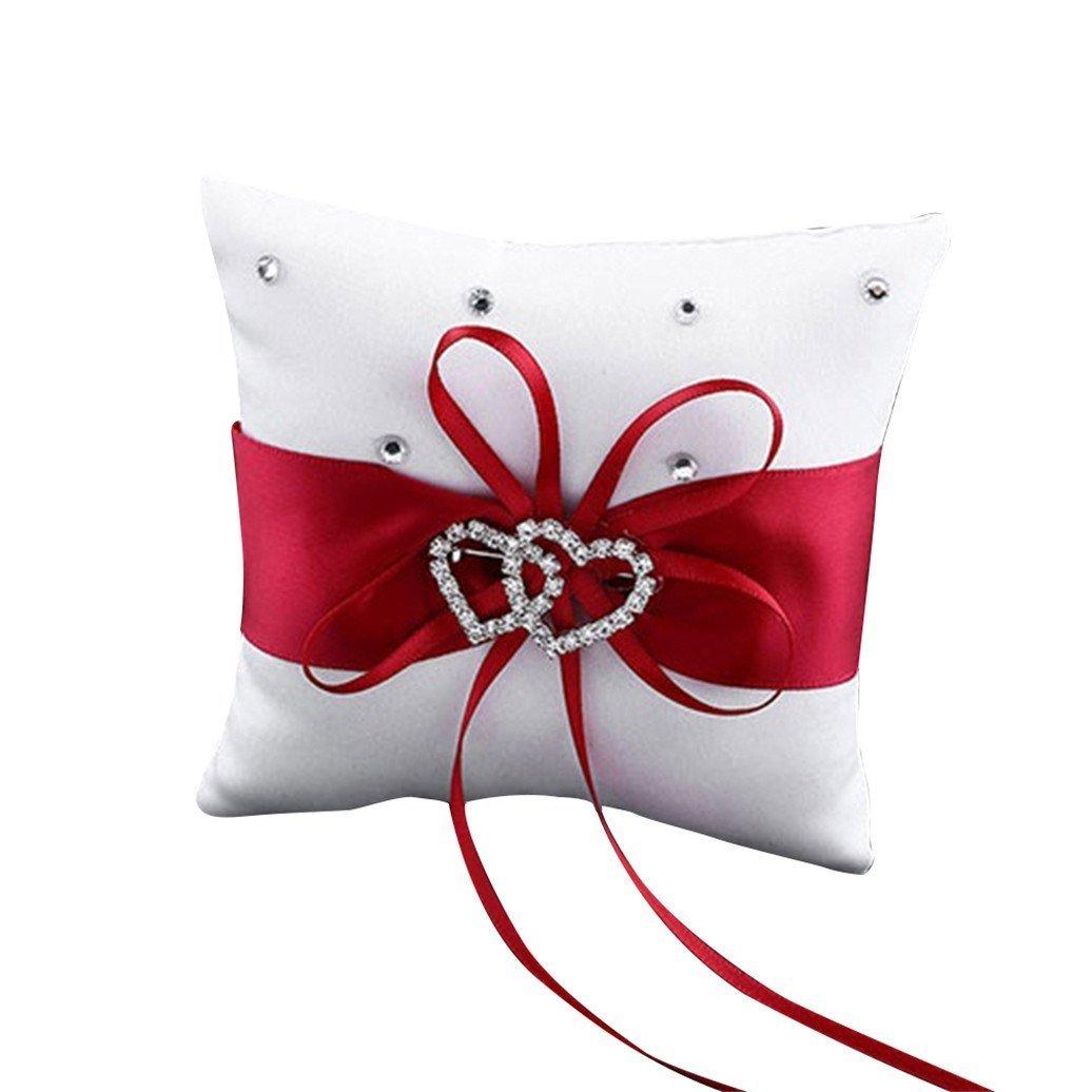 Westeng Cojín para anillos de boda almohada portador double-heart con lazo y anillos anillos