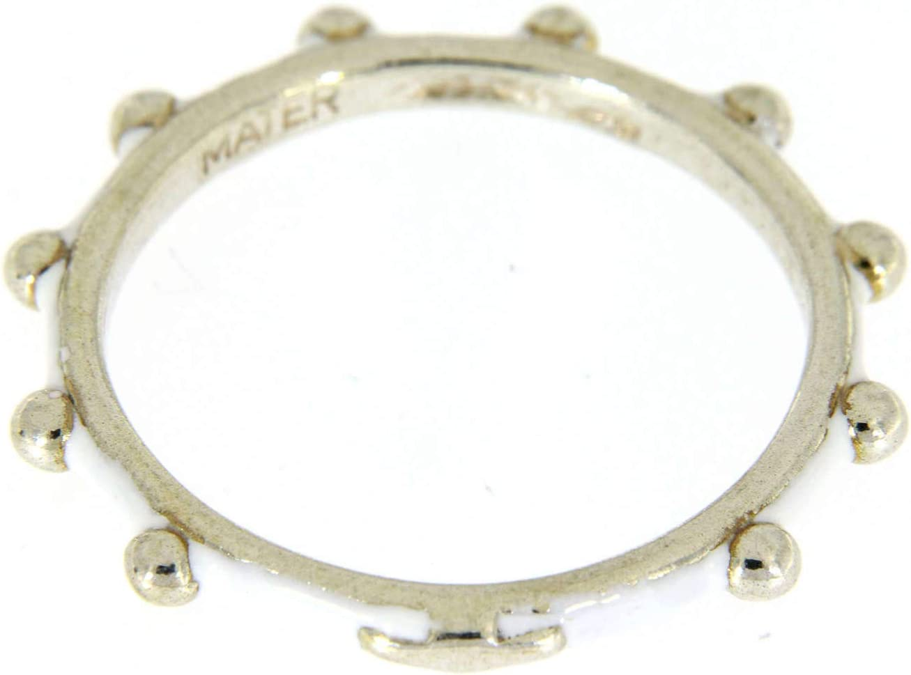 Holyart Rosenkranz Ring Mater Silber 925 und wei/Ã?en Emaillack - DE 53 0.669 inc. 17 mm