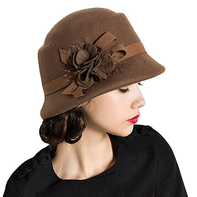 Tea Party Hats – Victorian to 1950s Maitose® Womens Wool Felt Flowers Church Bowler Hats $33.00 AT vintagedancer.com