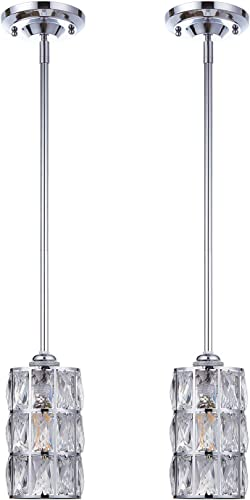 Doraimi 1 Light Crystal Pendant with Chrome Finish Set of 2 ,Modern and Concise Pendant Fixture with Crystal Plate Metal Shade for Bar, Dining Room, Corridor,Living Room.LED Bulb not Include