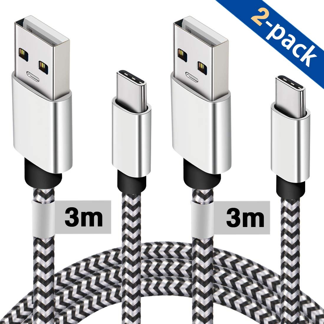USB Type C Cable, [2 Pack 3M] Certified USB C Cable Extra Long Durable Nylon Braided Charging USB Type C Data Sync Cord Compatible For Samsung Galaxy S9/S8+ Note 8, Huawei P9/P10, Google Pixel XLand More kisgo