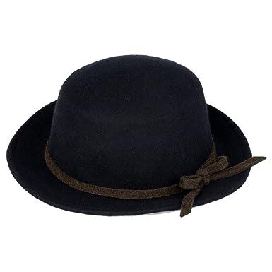 Vbiger Wool Flat Brim Fedora Hat (Black)  Amazon.in  Clothing ... b16b710a5e6