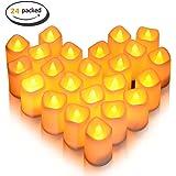 24 velas LED pequeñas sin llama, Lunsy MagicPro - Velas pequeñas con batería y sin color