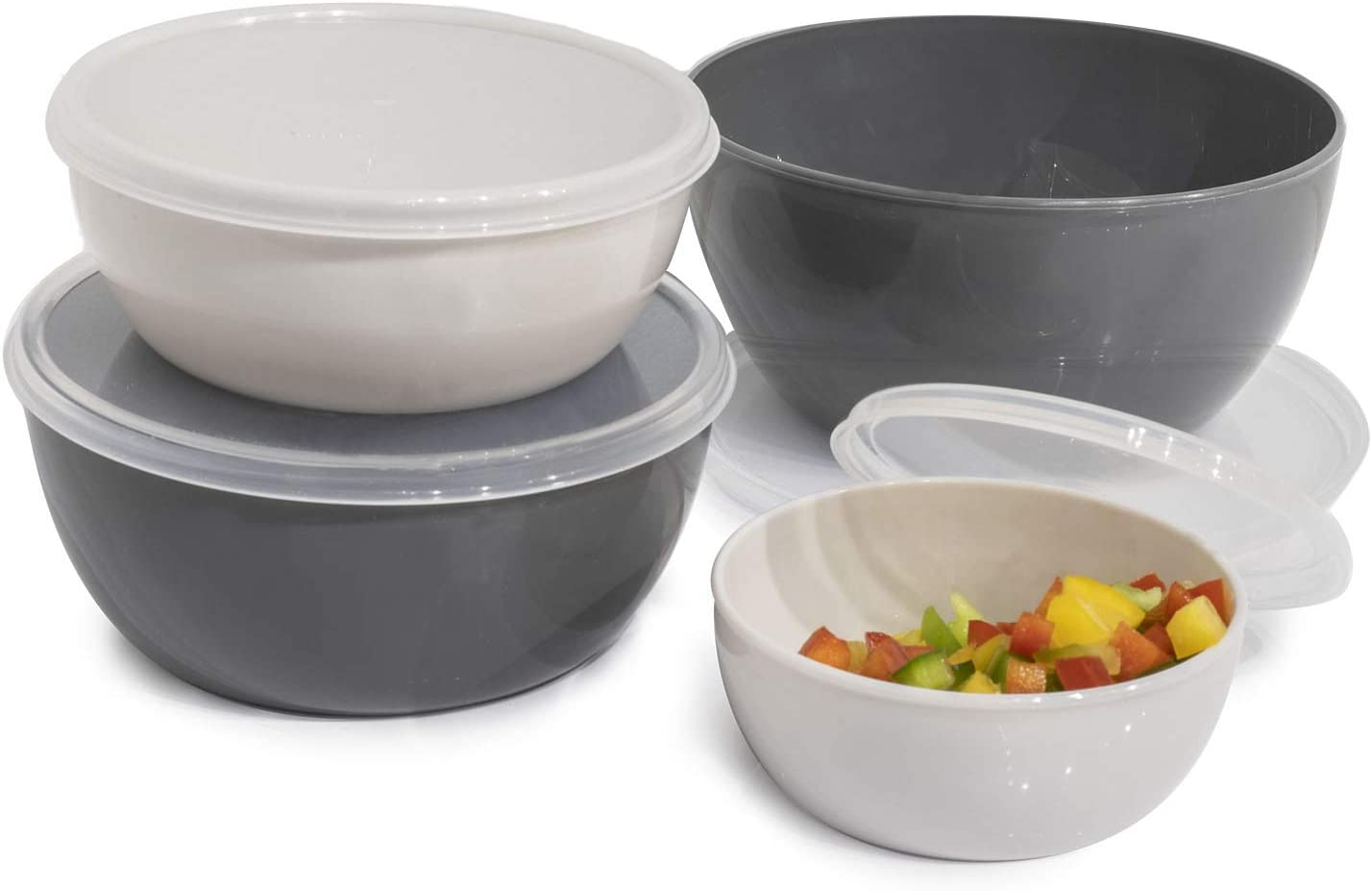 Cook with Color Plastic Prep Bowls - Mini Bowls with Lids, 8 Piece Nesting Bowls Set includes 4 Prep Bowls and 4 Lids (Ombre Gray)