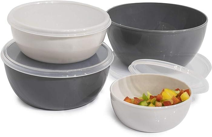 Cook with Color Plastic Prep Bowls - Mini Bowls with Lids, 8 Piece Nesting Bowls Set includes 4 Prep Bowls and 4 Lids (Ombre Gray)