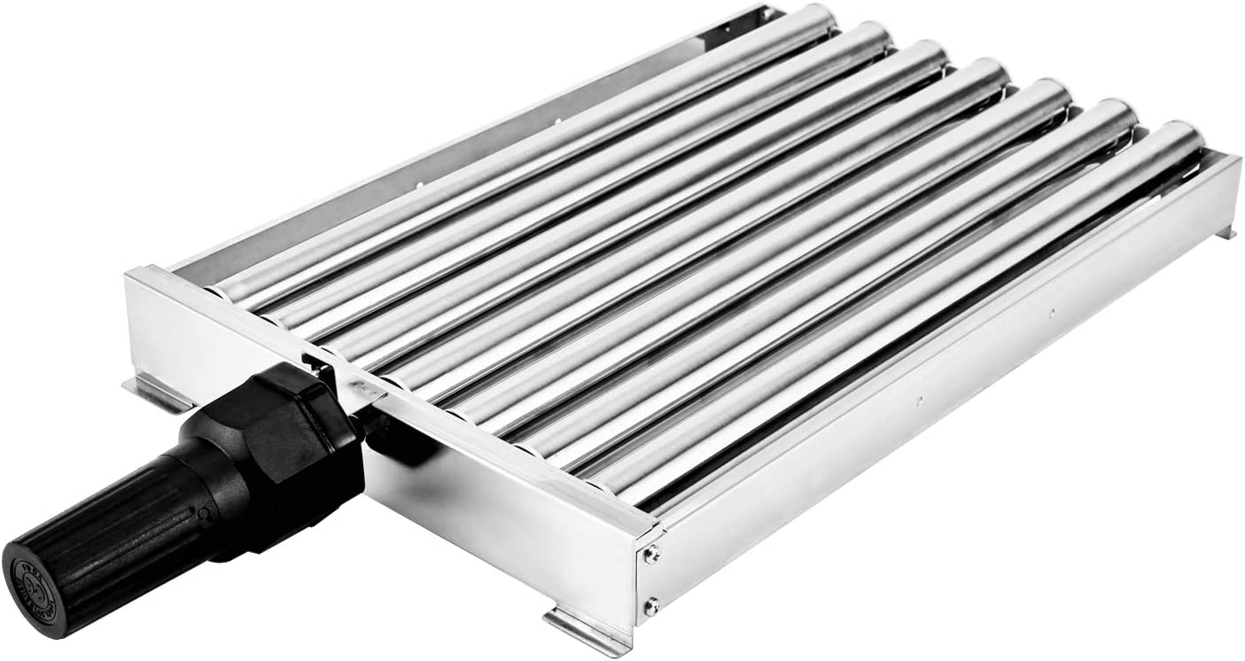 BBQ Creations B-014 Stainless Steel Barbecue Roller for Hot Dogs, Sausages and Kabob Skewers, Charcoal Grill Roller-Skewer Rotisserie Cooker