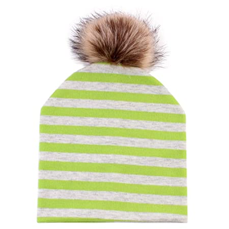 f8810ca8ae3 Fenical Baby Beanies Hat Cotton Artificial Fox Fur Pompom Winter Hats  (Green Stripe)  Amazon.co.uk  Kitchen   Home