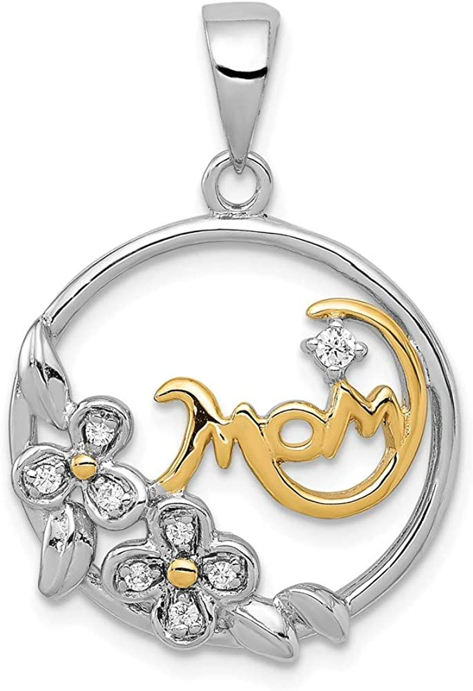 Sterling Silver Gold-Tone Synthetic CZ Mom Pendant