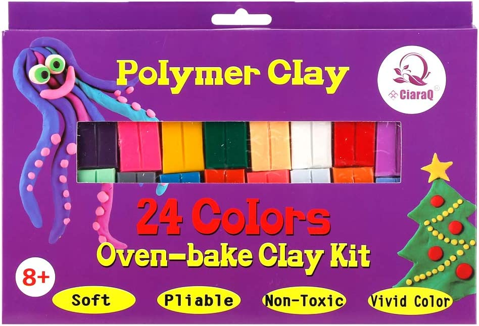 2 x Polymer Clay 24 Colors Oven Bake DIY Colorful Clay Safe and Nontoxic Soft Mo