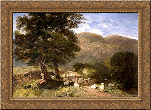 Tending Sheep, Betws-y-Coed 24x18 Gold Ornate Wood Framed Canvas Art by David Cox