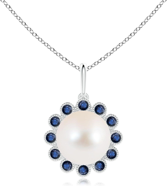 Agua dulce perla cultivada y zafiro collar con colgante de Halo Milgrain