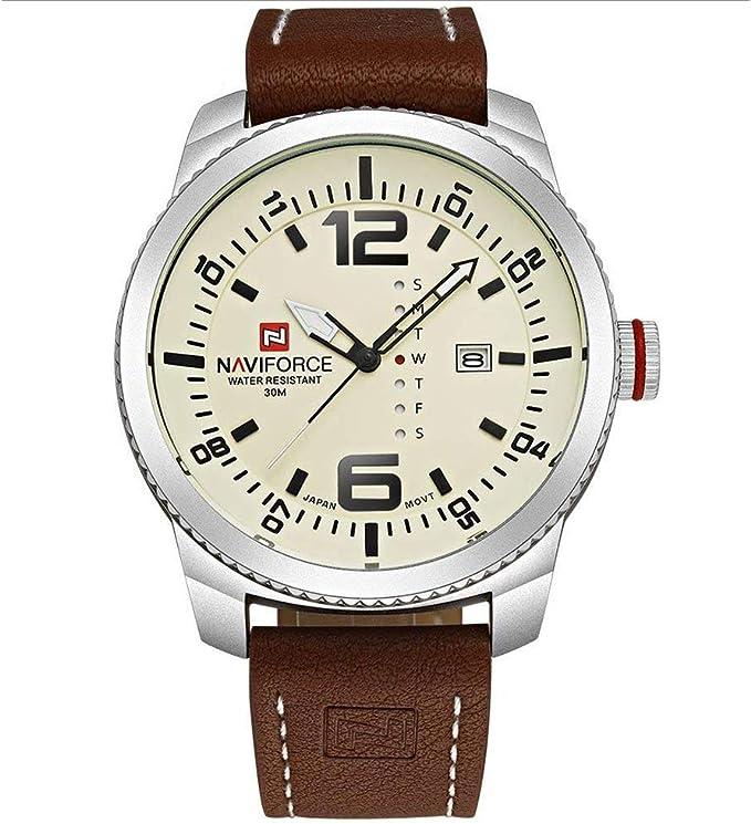 Lujo NAVIFORCE Neotrix íntegramente en acero inoxidable de los hombres de LED resistente al agua reloj de tiempo Dual - relojes militares de los deportes en color negro y naranja