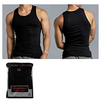 d8c30f31b3c708 Amazon.com   Mens 100% Cotton A-Shirt Top Quality Muscle Ribbed Tank Tops  Black L   Sports   Outdoors