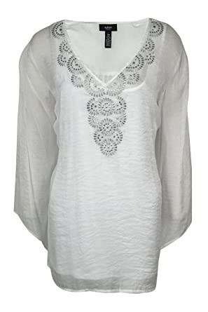 83294088c389f2 Image Unavailable. Image not available for. Color: Alfani Plus Size White  3/4-Sleeve Embroidered Top 16W